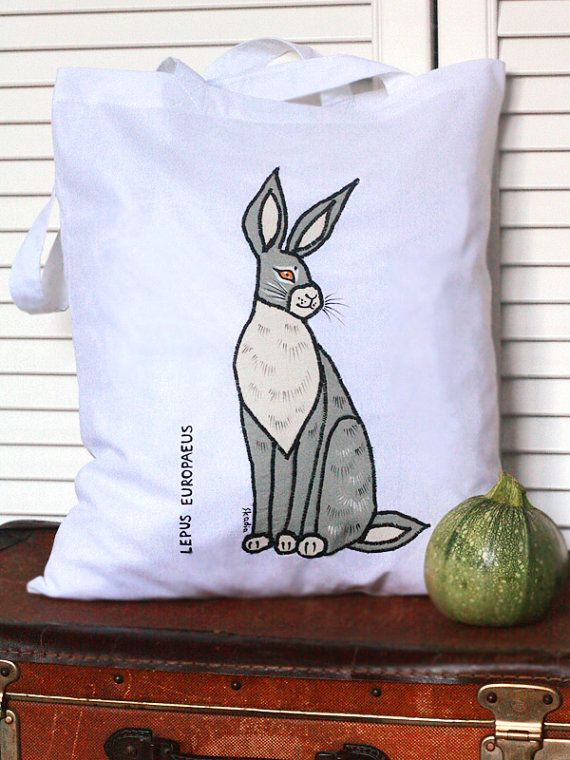 Shopping/tote bag with and appliquéed painted hare by SkadiaArt