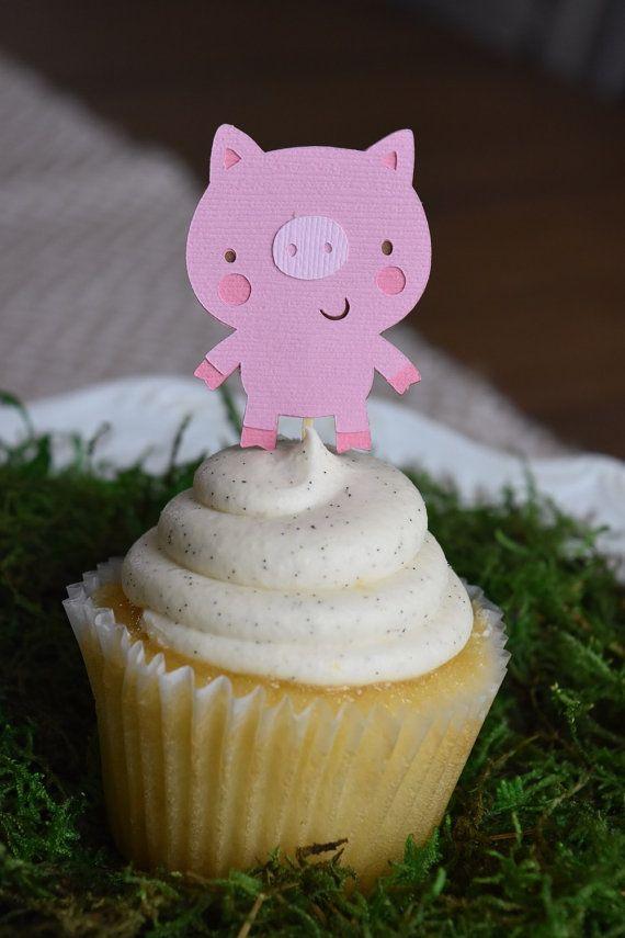 12 toppers de cupcake de animales de granja fiesta temática
