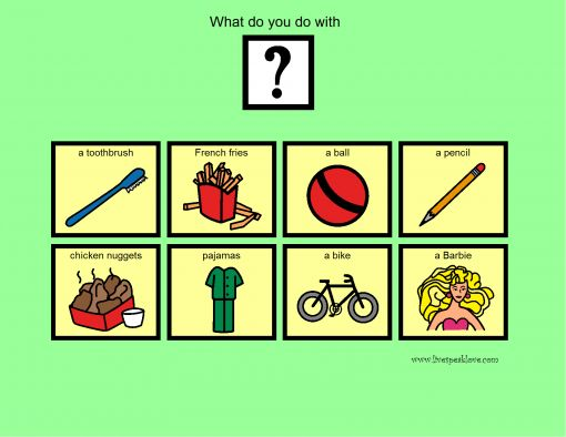 Object Function Speech Therapy Worksheet : What questions object function activity livespeaklove