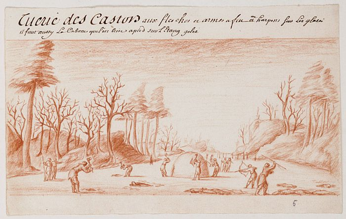Beaver hunting, 18th century | The Beinecke Rare Book and Manuscript Library, Yale University