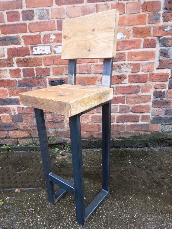 Reclaimed Industrial Chic Tall Bar Stool. For Poseur Tables Steel and Wood Metal Hand Made Bar Cafe Restaurant Furniture Office bespoke