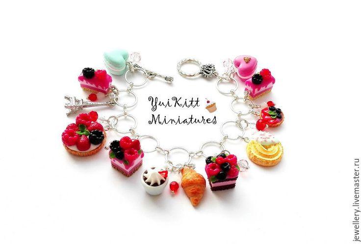 """Купить Браслет """"Ягодные Десерты"""" - розовый, мятный цвет, нежно-розовый, летние десерты"""