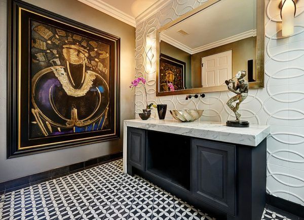 Lighting gives the contemporary powder room an airy ambiance
