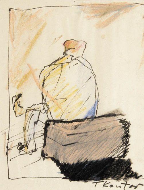 CZŁOWIEK SIEDZĄCY NA PACE  Autor:Kantor Tadeusz (1915 - 1990) Rozmiary:15 x 11.5 cm Technika:flamaster, pastel, papier krem. nakl. na papier Opis:sygn. tuszem p.d.: TKantor
