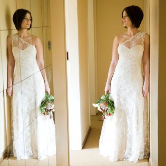 Dimity - Loanita Schultz Embroidered lace over corseted sateen gown