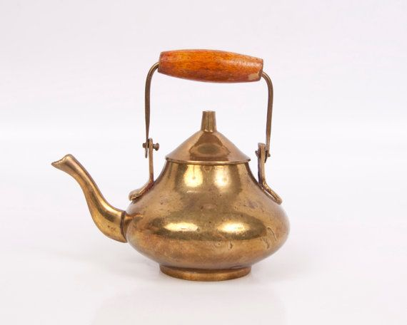 Vintage Brass Teapot Made In India Miniature Tea Pot Wood