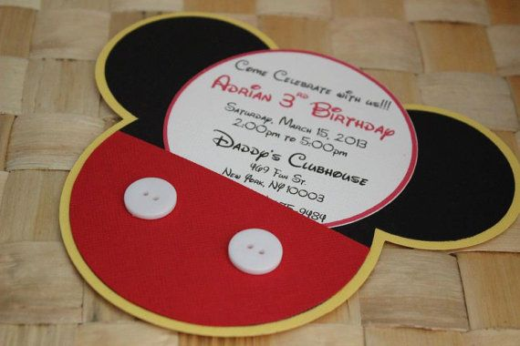 Handmade Mickey Mouse Invitations For by PaperletteDesigns