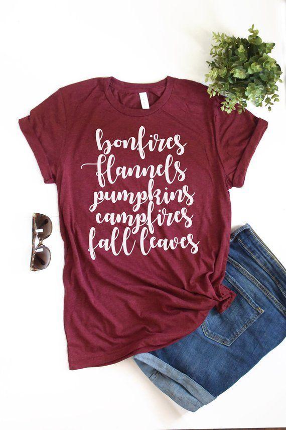 d8d02675 Women's Fall Shirt, Women's Graphic Tee - Bonfires Flannels Pumpkins  Campfires Fall Leaves Shirt This