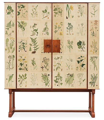 A Josef Frank 'Flora' cabinet, Svenskt Tenn ca 1956. Mahogany, the sides and doors wallpapered with floral post.... - Modern Autumn Sale, St...
