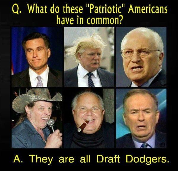 Well I'll Be, Republicans... [Below is an incomplete list from the New Hampshire Gazette newspaper . . . Chickenhawks page]..... Politicians.....George W. Bush, Dick Cheney, John Ashcroft, Ronald Reagan. ~ http://www.nhgazette.com/chickenhawks/