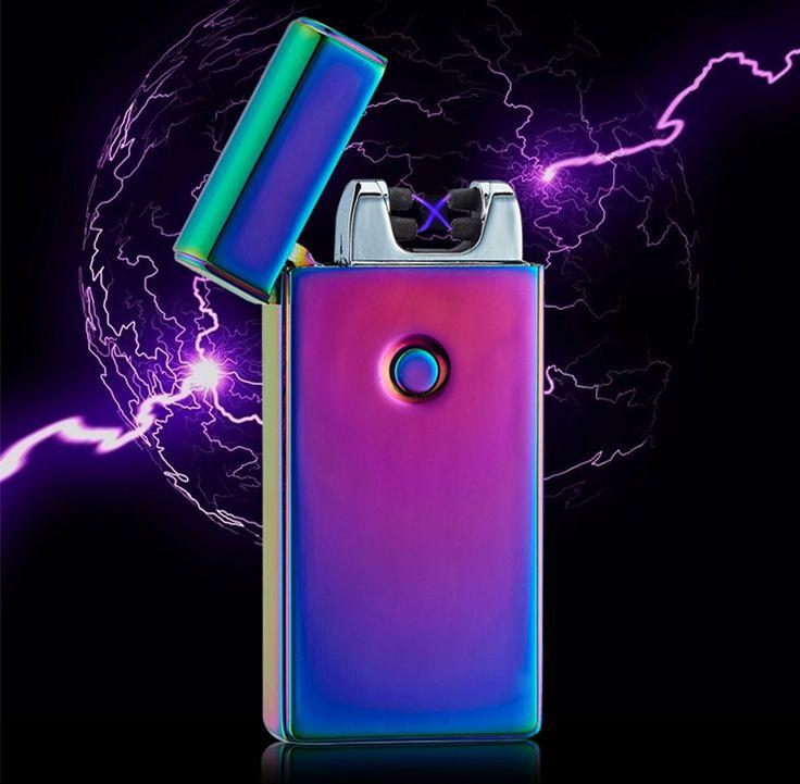 Tinggi Quailty Palang Kasus USB Pulsa Ganda Busur Ringan Korek Api Tahan Angin Logam Elektronik Rokok lighter-BSG307
