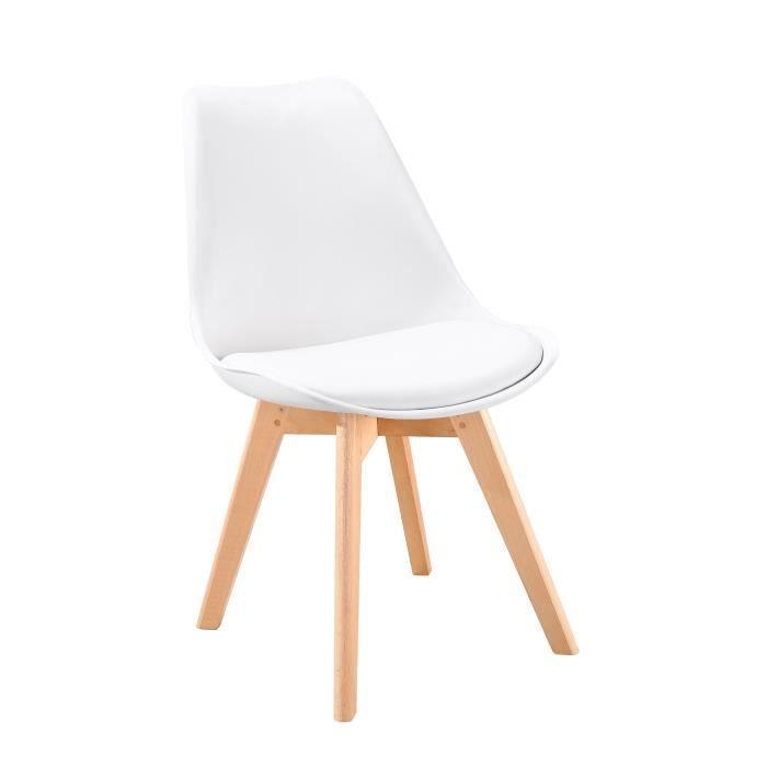CHAISE BJORN Chaise scandinave de salle à manger blanche