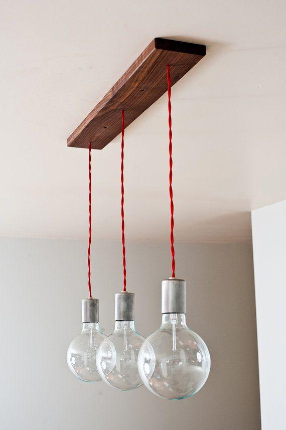 Triple Shot Straight - 3 Globe Hanging Pendants w/ Modern Walnut base