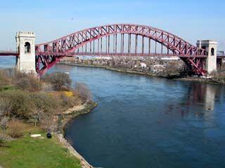 The view of Hell Gate Bridge/New York Connecting Railroad Bridge from Triborough Bridge