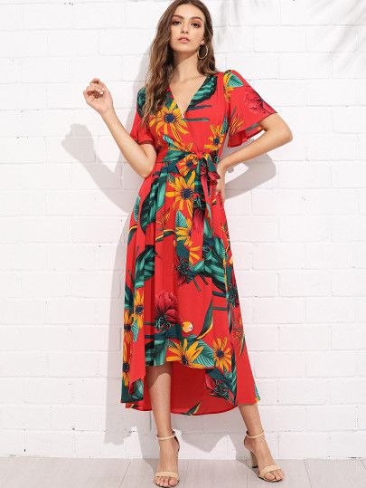 23d02a0244 Trumpet Sleeve Surplice Neck Floral Dress -SheIn(Sheinside) | pink ...