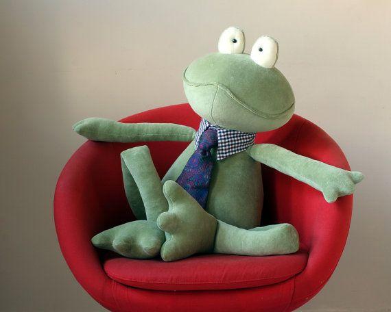 Moss Green Giant Frog stuffed plush toy - $80.00