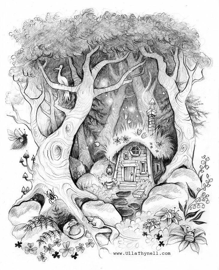 длину сказочный лес рисунки карандашом последнем