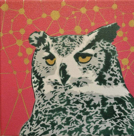 Horned Owl pop art spray paint stencil painting by mattkuhlman