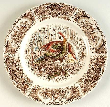 """Johnson Brothers has many turkey plate patterns to choose from. This one is called """"Woodland Wild Turkey.""""  Notice the detail around the rim."""