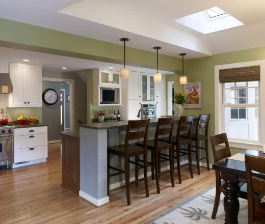 Transitional Galley Style Teal kitchen, white cabinets, Mark Coupard