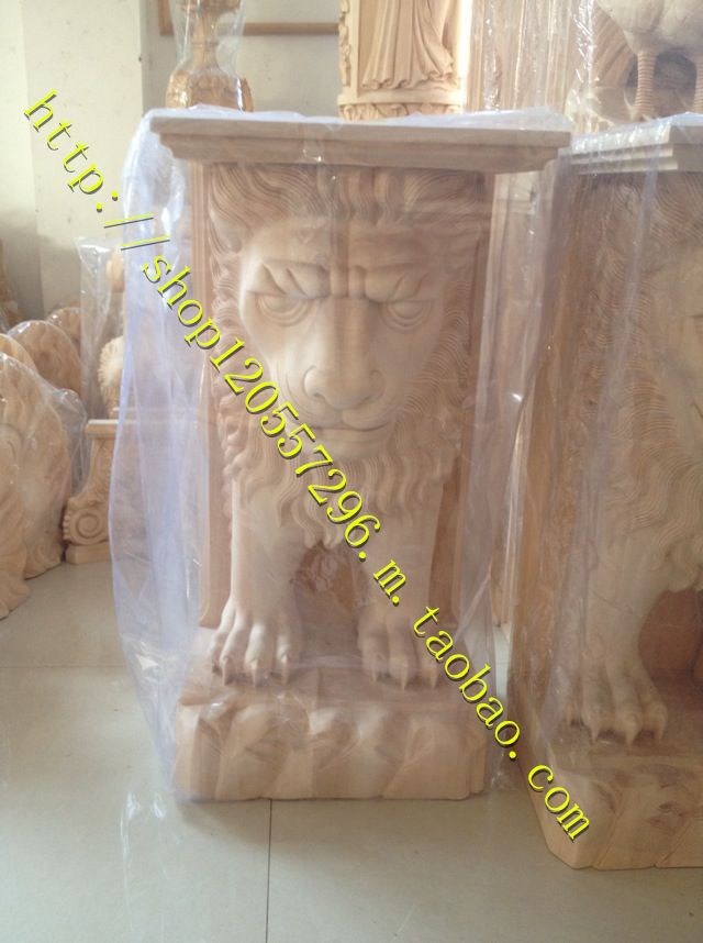 Dongyang wood carving wood Carving Fireplace European lion flower stigma decorative carving handicraft custom processing archi