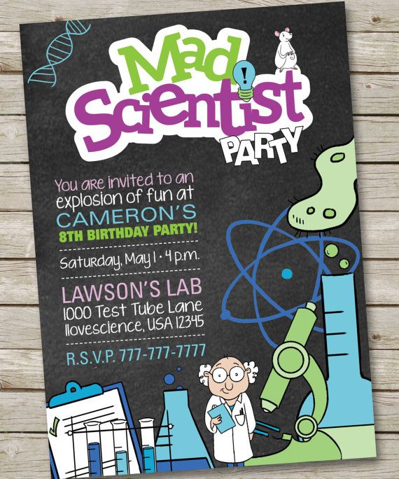 Mad Scientist Birthday Invitation Mad by PartiesbytheBundle