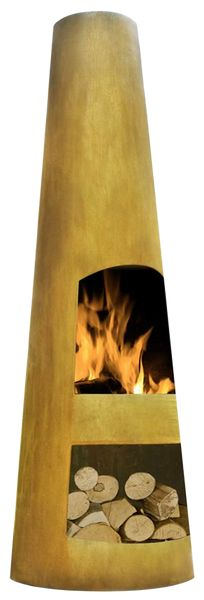 Circo Corten Steel Chimenea  Contemporary modern design Integrated log store for added convenience Oxidized finish Materials:	Corten Steel help	Fire Type:	Wood Burning Outdoor Fireplace Type:	Chiminea - See more at: https://lowes.decorist.com/finds/659830/la-hacienda-56079us-circo-corten-steel-chimenea