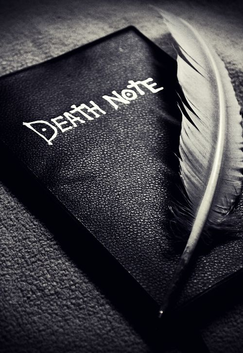 Black and White anime feather l Death Note kira light yagami Lawliet