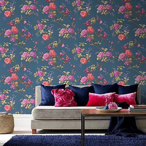 Fresco Dark Blue Stunning Oriental Floral Wallpaper   Debenhams
