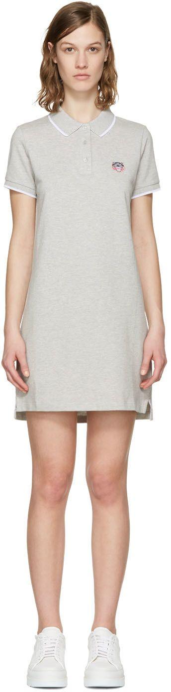KENZO Grey Tiger Crest Polo Dress. #kenzo #cloth #dress