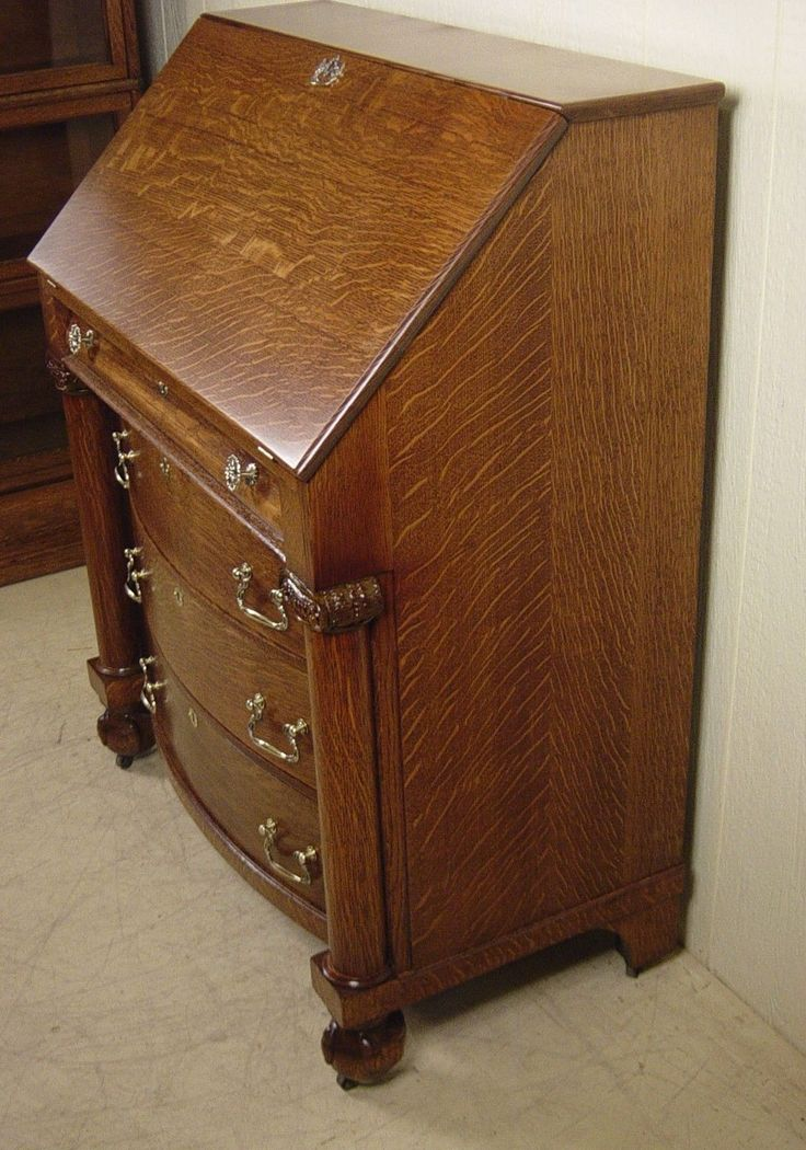 Antique Oak Drop Front Desk. 66 best Antique Golden Oak furniture images on Pinterest   Antique