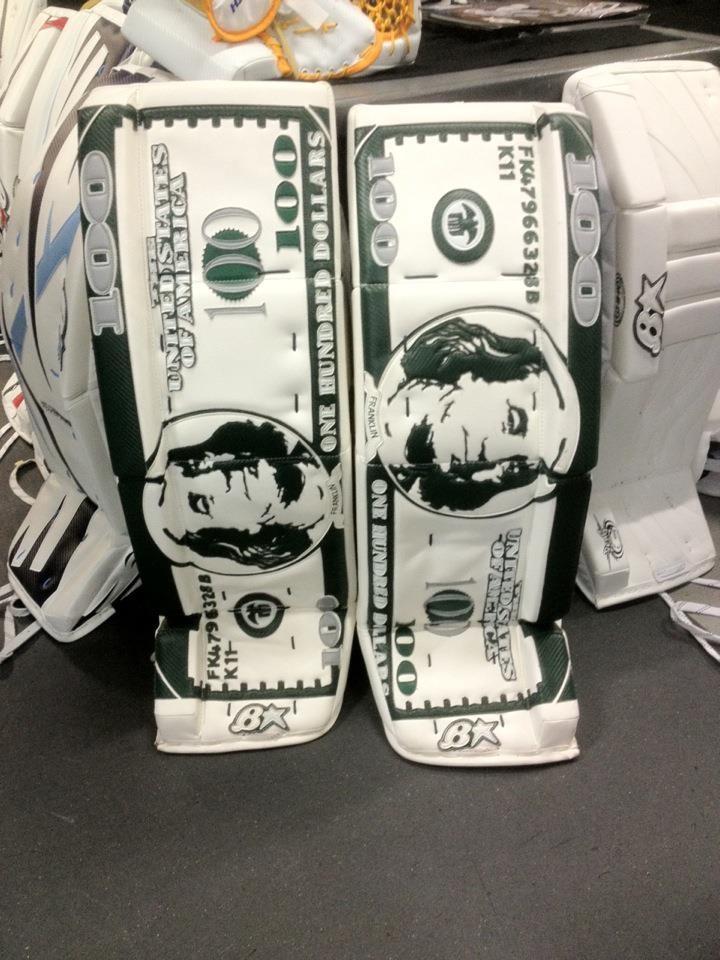 MONEY MONEY MONNNEYYYY!  Order a custom set of pads at http://goalie.totalhockey.com/default.aspx