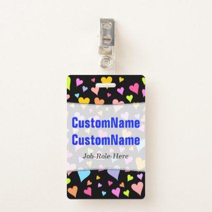 Fun Loving Colorful Hearts Pattern; Custom Name Badge - pattern sample design template diy cyo customize