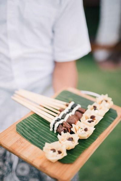 Wedding appetizers: http://www.stylemepretty.com/little-black-book-blog/2015/03/09/elegant-semara-villa-resort-wedding/ | Photography: Ben Yew - http://benyew.com/