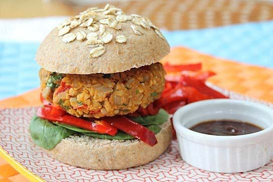 this one s for the vegetarians chickpea and brown rice burger patties