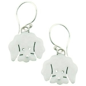 Bichon Frise Enamel & Silver Dangle Dog Earrings