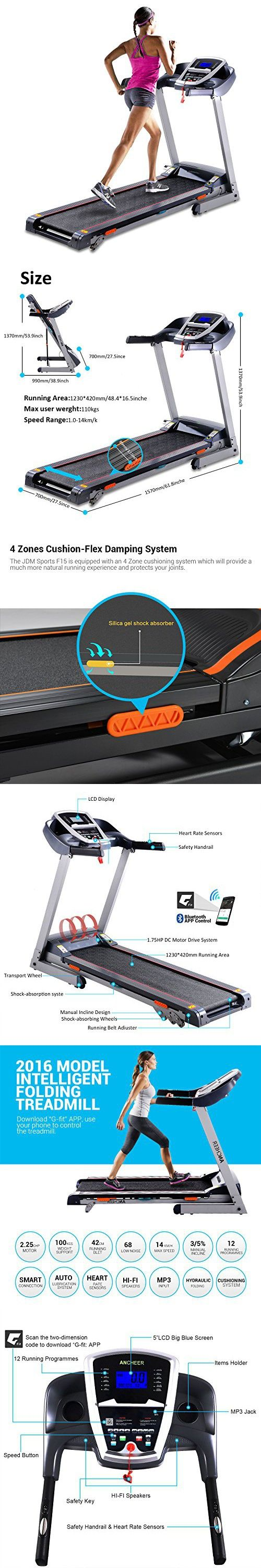 Folding Portable Wireless Intelligent Indoor Commercial Home Electric Treadmill Running MachineLow Noise