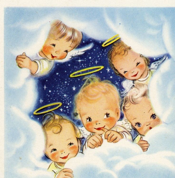 Vintage Christmas Greeting Card ARS Sacra 5 Angels in Clouds by Lory EB6839 | eBay
