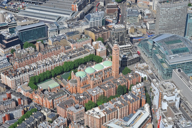 An aerial photograph of Westminster Cathedral, London