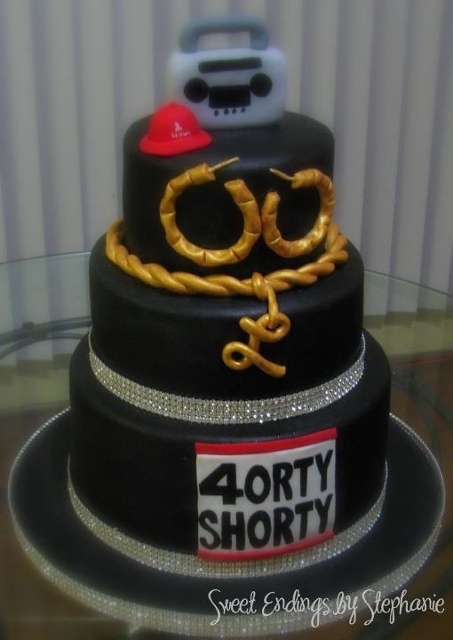"Sophisticated Hip Hop Cake - For this Hip Hop Cake, I wanted to incorporate old skool elements, but still create a classy cake. The bling really helped. Had fun doing this. The 40RTY SHORTY is what the ""birthday lady"" came up with. She had shirts made up with this logo reminiscent of Run DMC's logo. She super talented. Her party was beautiful!"