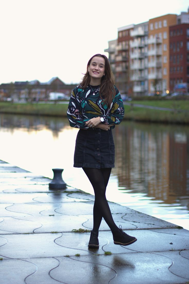 Fashiable, outfit, fashion, blogger, Topshop tulip jumper, Topshop denim skirt, Clarks shoes, #styledbyclarks