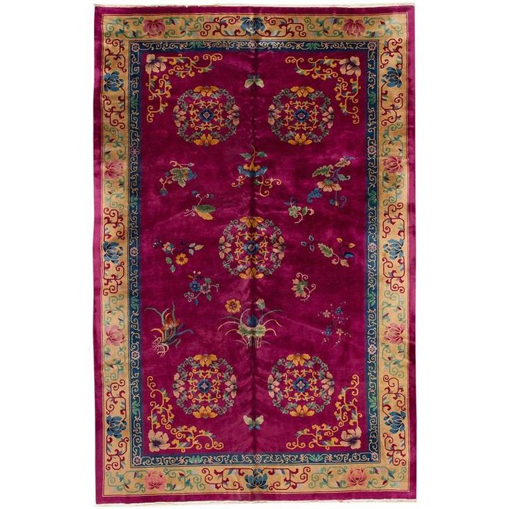 Floral Chinese Art Deco Rug | From a unique collection of antique and modern chinese and east asian rugs at https://www.1stdibs.com/furniture/rugs-carpets/chinese-rugs/