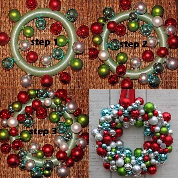 ornament wreath - for easier than hot glue, string them on fishing line and wrap it around the wreath form. adjusting the ornaments as you wrap.