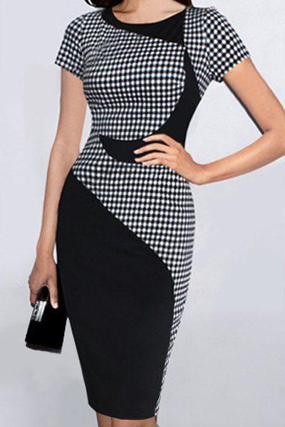 Stylish Scoop Neck Short Sleeve Plaid Bodycon Dress For Women