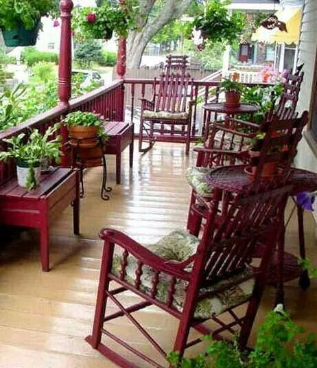 Red Rocking Chairs on Porch