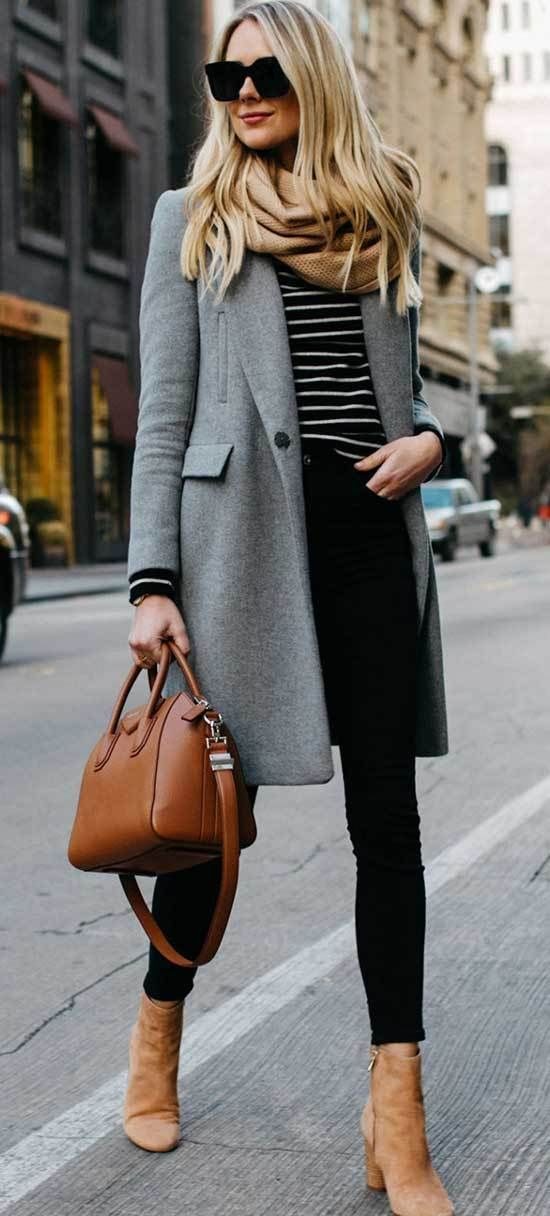 Winter and Fall Work Outfit with Black Pants