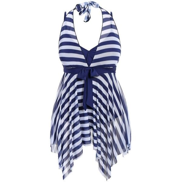 Plus Size Stripe One Piece Skirted Swimsuit (30 BAM) ❤ liked on Polyvore featuring swimwear, one-piece swimsuits, striped one piece bathing suit, plus size swim suits, plus size swimwear, 1 piece swimsuit and plus size womens swimsuits