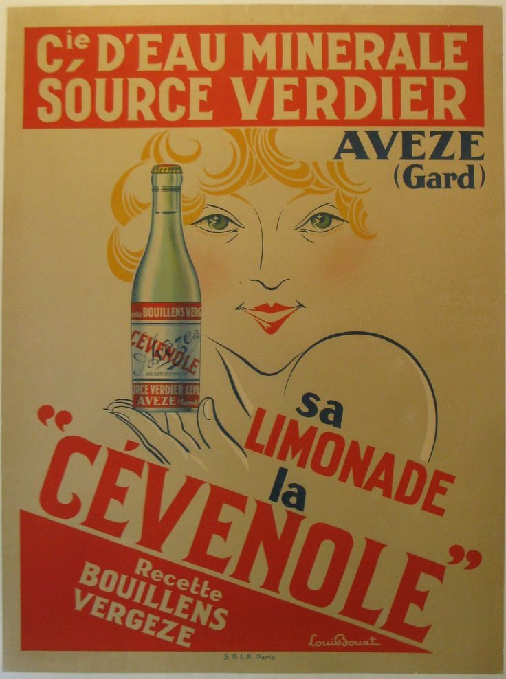 """Sa Limonade la Cevenole Louis Bouat France - 1925 - imp. S.P.I.A 47 x 63 in (119 x 160 cm)  Some piece-in along edges; particularly at the top. Several tears from the bottom into the image varying in size (6""""-12""""). $850"""