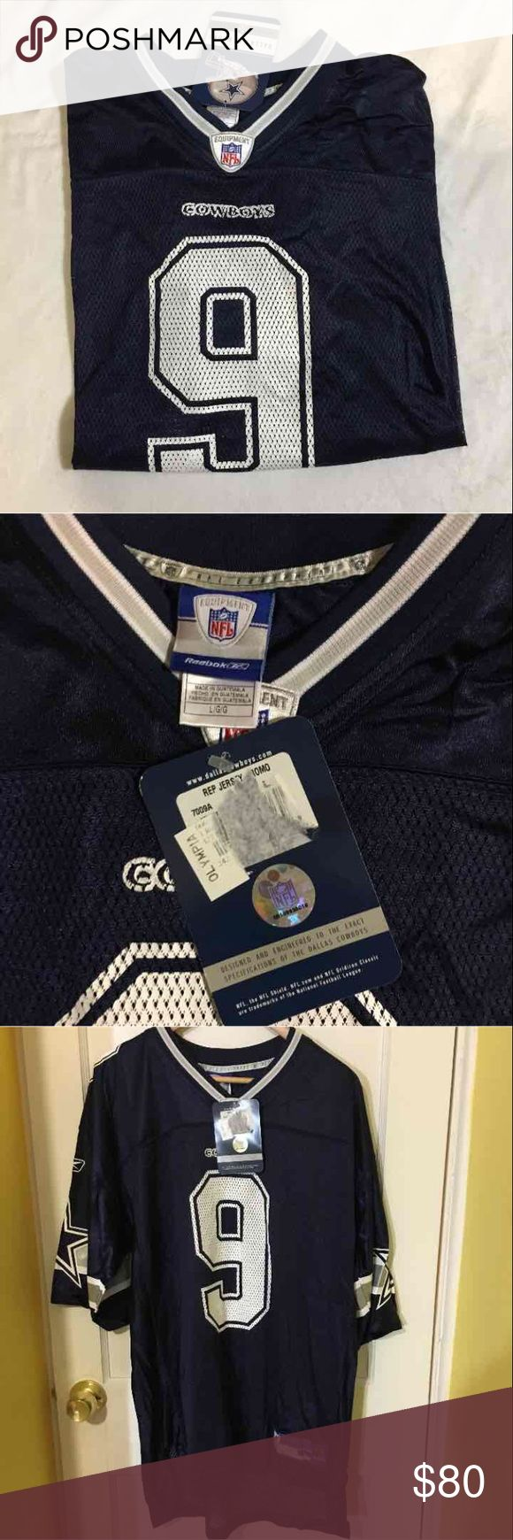 Authentic Tony Romo Jersey Authentic Tony Romo jersey, bought as a gift, football season ended and put in a bin and forgotten. Size L Reebok Other