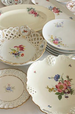 Vintage Bavarian china. Have many pieces and I like the bright white with floral motif - patterns mix and match well.